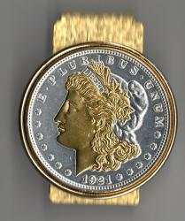 Gold and Silver on Silver Morgan Dollar (Obv) Hinge Money Clip