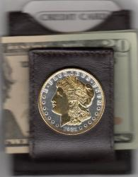 Gold on Silver Morgan Dollar (Obv w/ Gold Stars and Beads) Folding Money Clip