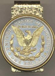 Gold on Silver Morgan Dollar (Rev) Hinge Money Clip