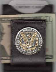 Gold and Silver on Silver Morgan Dollar (Rev) Folding Money Clip