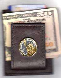 Gold on Silver Statue of Liberty Presidential Dollar Folding Money Clip