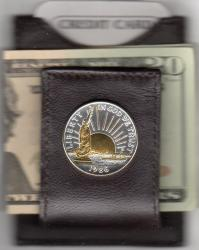 Gold and Silver on Silver Statue of Liberty Half Dollar Folding Money Clip
