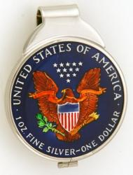 Hand Painted American Silver Eagle (Reverse) Money Clip