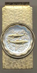 Gold on Silver Bahamas 10 Cent Bone Fish Hinge Money Clip
