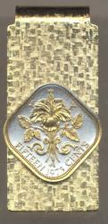Gold on Silver Bahamas 15 Cent Hibiscus Hinge Money Clip