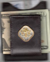 Gold on Silver Bahamas 15 Cent Hibiscus Folding Money Clip
