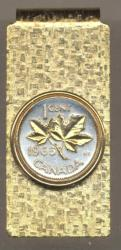 Gold on Silver Canada 1 Cent Maple Leaf Hinge Money Clip