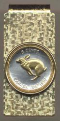 Gold on Silver Canada 5 Cent Rabbit Hinge Money Clip
