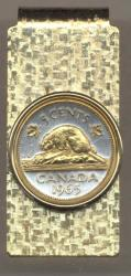 Gold on Silver Canada 5 Cent Beaver Hinge Money Clip