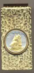 Gold on Silver Canada 10 Cent Bluenose Hinge Money Clip