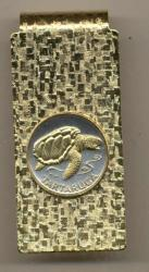 Gold on Silver Cape Verde 1 Escudos Sea Turtle Hinge Money Clip