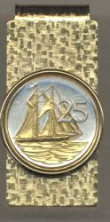 Gold on Silver Cayman Islands 25 Cent Sail Boat Hinge Money Clip