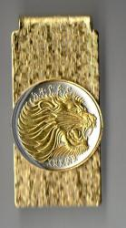 Gold on Silver Ethiopia 50 Cent Lion Hinge Money Clip