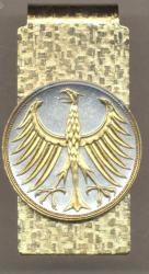 Gold on Silver Germany 5 Mark Eagle Hinge Money Clip