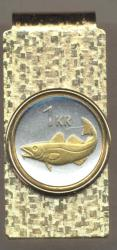 Gold on Silver Iceland 1 Krona Cod Fish Hinge Money Clip