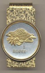 Gold on Silver Seychelles 1 Rupee Conch Hinge Money Clip
