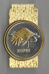 Gold and Silver on Silver Seychelles 1 Rupee Conch Hinge Money Clip