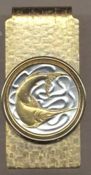 Gold on Silver Singapore 20 Cent Swordfish Hinge Money Clip
