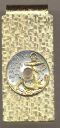 Gold on Silver Spain 50 Centimes Anchor and Wheel Hinge Money Clip