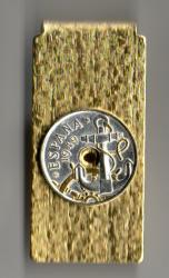 Gold and Silver on Silver Spain 50 Centimes Anchor and Wheel Hinge Money Clip