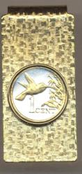 Gold on Silver Trinidad and Tobago 1 Cent Hummingbird Hinge Money Clip