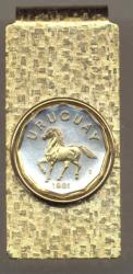 Gold on Silver Uruguay 10 Centesimos Horse Hinge Money Clip