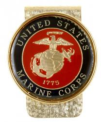 Hand Painted Marine Corp Commemorative Medallion Money Clip