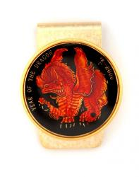 Hand Painted Year of Dragon Medallion (Red) Money Clip