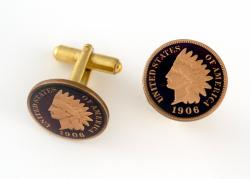 Hand Painted Indian Head Cent (Obverse) Cuff Links