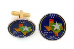 Hand Painted Texas State Quarter Cuff Links