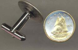 Gold on Silver Canada 10 Cent Bluenose Cuff Links
