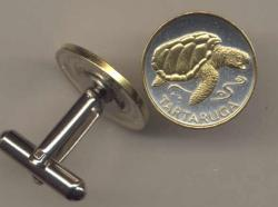 Gold on Silver Cape Verde 1 Escudos Sea Turtle Cuff Links