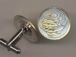 Gold on Silver Cayman Islands 10 Cent Turtle Cuff Links