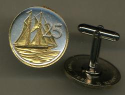Gold on Silver Cayman Islands 25 Cent Sail Boat Cuff Links