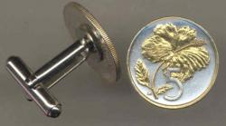 Gold on Silver Cook Islands 5 Cent Hibiscus Cuff Links