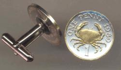 Gold on Silver Guernsey 1 Penny Crab Cuff Links