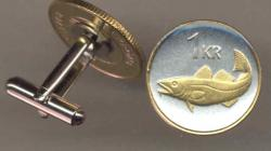 Gold on Silver Iceland 1 Krona Cod Fish Cuff Links