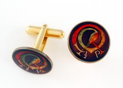 Hand Painted Ireland 1/2 Penny Celtic Bird Cuff Links