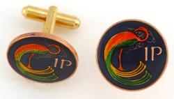Hand Painted Ireland 1 Penny Celtic Bird Cuff Links