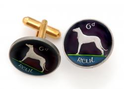 Hand Painted Ireland 6 Pence Reut Dog Cuff Links