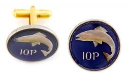 Hand Painted Ireland 2 Florin Salmon Cuff Links