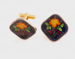 Hand Painted Israel 1 Agorah Wheat Cuff Links