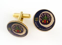 Hand Painted Israel 50 Sheqalim Menorah and Wreath Cuff Links