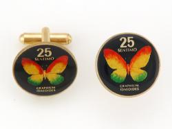 Hand Painted Philippines 25 Sentimos Butterfly Cuff Links