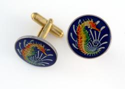 Hand Painted Singapore 10 Cent Sea Horse Cuff Links