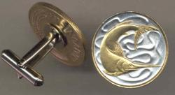 Gold on Silver Singapore 20 Cent Swordfish Cuff Links