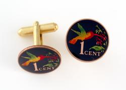 Hand Painted Trinidad & Tobago 1 Cent Hummingbird Cuff Links