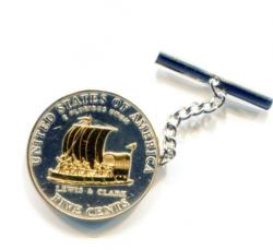 Gold on Silver Jefferson Nickel Keelboat Tie or Hat Tack