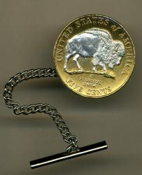 Silver on Gold Jefferson Nickel White Buffalo Tie or Hat Tack