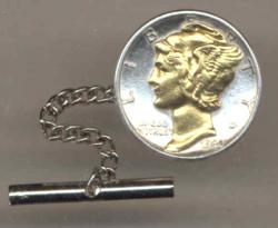 Gold on Silver Mercury Dime Tie or Hat Tack